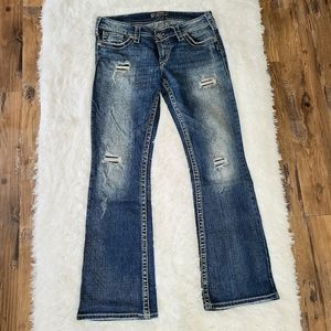 Silver Jeans Co. Distressed Pioneer Bootcut 30